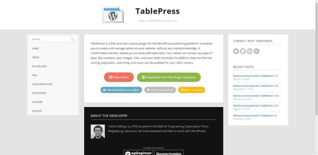 TablePress home
